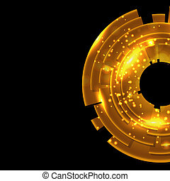 Abstract gold background with black copy space.