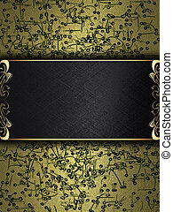 Abstract gold background with black plate and a beautiful...
