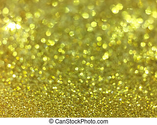 Abstract gold bokeh circles for christmas background, glitter light defocused and blurred bokeh