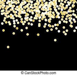 Abstract gold glitter background with polka dot confetti.   illustration