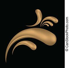 Abstract gold grunge 3 D vintage vector logo creative design