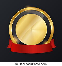 Abstract Gold Label with Red Ribbon Template. Vector Illustration