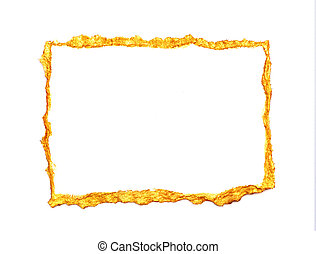 Abstract gold painted frame on a white background with place for your text