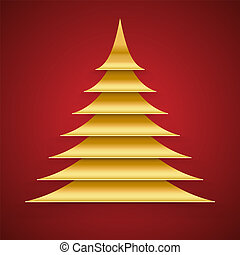 Abstract Gold Paper Cut Christmas Tree