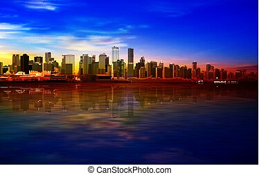abstract gold sunrise background with blue sky and panorama of Vancouver