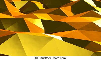Abstract gold triangular crystalline background animation....