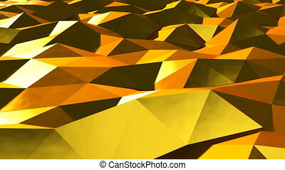 Abstract gold triangular crystalline background animation. Seamless loop