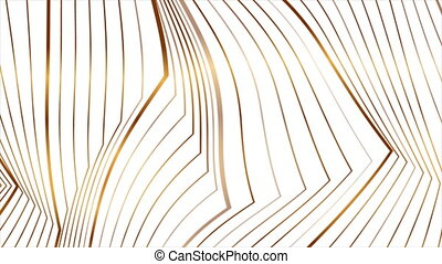 Abstract golden 3d lines refraction geometric minimal motion background. Seamless looping. Video animation Ultra HD 4K 3840x2160
