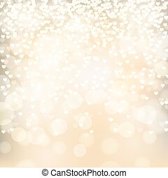 abstract golden background with falling hearts, vector