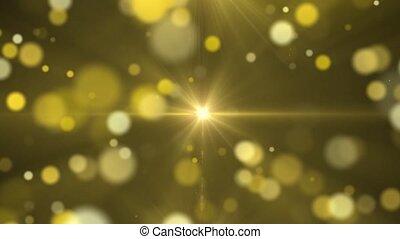 Abstract golden background with light in center and particles.