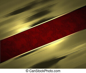 Abstract golden background with red cutout. Design template