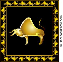 abstract golden bull - dark background with golden frame and...