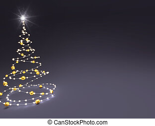 Abstract golden Chistmas tree on black