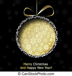 Abstract golden Christmas ball cutted from paper on black background. Vector eps10 illustration