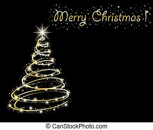 christmas tree on black background.