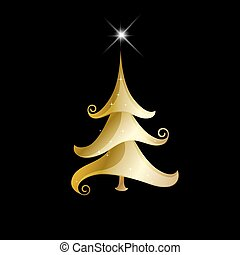 Abstract golden christmas tree on black background.