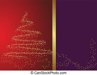 Abstract golden christmas tree on red background with room for text