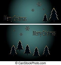 Abstract golden christmas trees on black background. Vector eps10 illustration