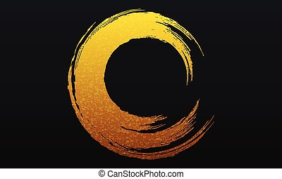 Abstract golden circle brush background.