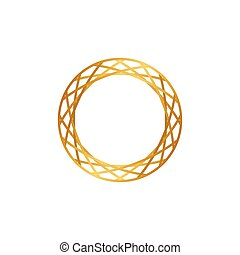 Abstract golden circle ornament vector