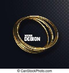 Abstract golden circle shape.