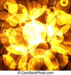 golden circles on a dark background