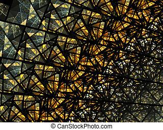 Abstract golden circular mosaic pattern.