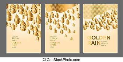 Abstract golden drop pattern for surface design, poster, card, header. Geometric concept glitter rain vector illustration.
