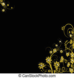 golden floral background on black