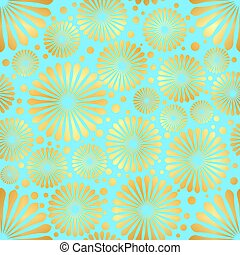 Abstract Golden flowers on blue background . Vector illustration