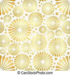 Abstract Golden flowers on white background. Vector illustration