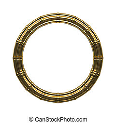 Abstract golden frame isolated on white background. 3D rendering.