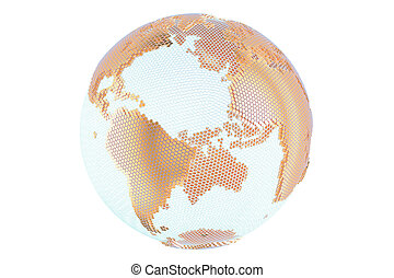 Abstract golden globe Earth, 3D rendering