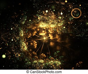 Abstract golden-green sparkling underwater fractal background with spotlights on black background. Fractal art