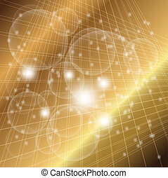 Abstract golden grid circle light
