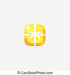 Abstract golden jewelry vector icon isolated, flat gold gem brick