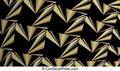 Abstract golden kaleidoscope relief patterns, triangle...