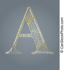 Abstract golden letter A.