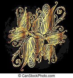 Abstract golden line art