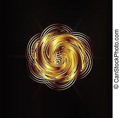 Abstract golden rose creative logo