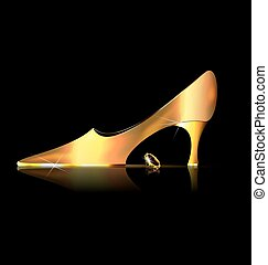 abstract golden shoe and yellow crystal - dark background...