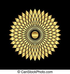 abstract golden sunflowers