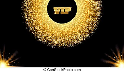 Abstract golden VIP invitation card with glow light effect. Vector illustration