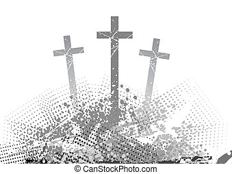 cross - abstract golgotha with three cross