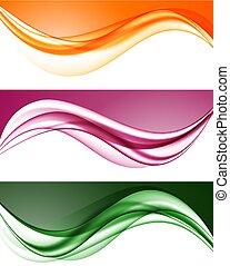 abstract, golvend, lijnen, set, kleurrijke