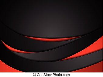 abstract, golvend, zwarte achtergrond, collectief, rood