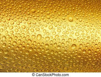 abstract, gouden, druppels, van, water.