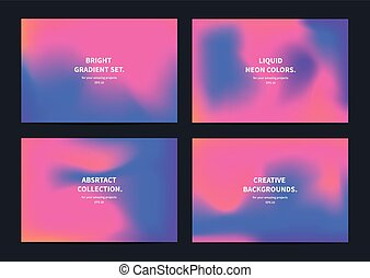 Collection of neon liquid abstract gradient backgrounds. A3, A4 format.