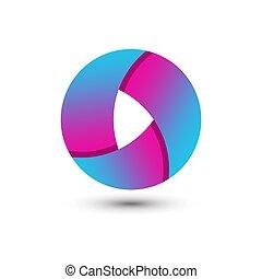 Abstract Gradient Circle Media Play Logo Design Template Premium Vector