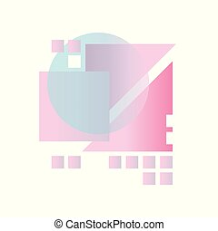 Abstract gradient geometric forms in blue, pink and purple colors, colorful design for label, presentation, poster, banner or card, modern decoration shapes and figures vector Illustration